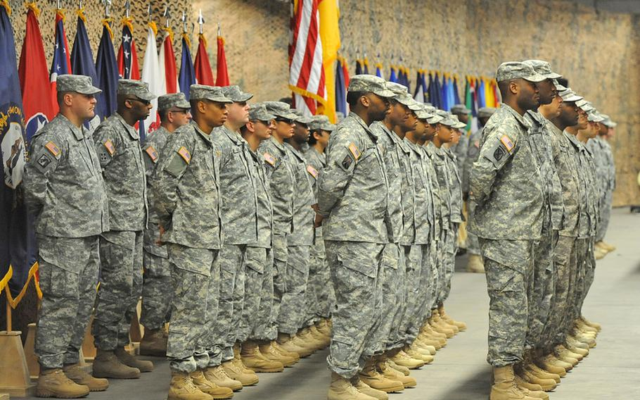 Soldiers of the 7th Civil Support Command stand in formation at the unit's change-of-command ceremony at Rhine Ordnance Barracks in Kaiserslautern, Germany, Friday. Brig. Gen. Paul Benenati became the new commander of the 7th CSC at the ceremony. The outgoing commander was Brig. Gen. Mark Hendrix.