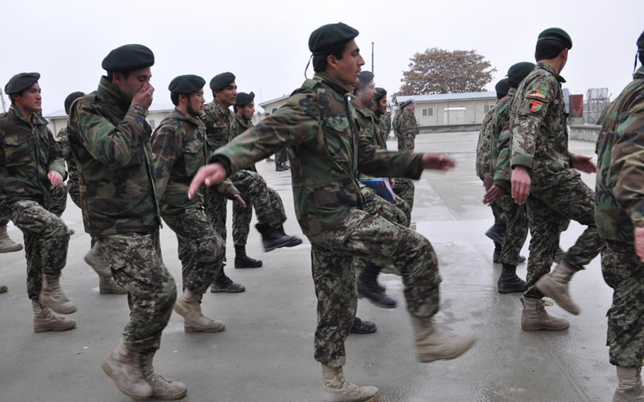 Afghan Air Force cadets march during training in March 2011. Over the past year pilots in the nascent air force have missed out on countless hours of flight time due much of its fleet of cargo planes being grounded due to maintenance issues.