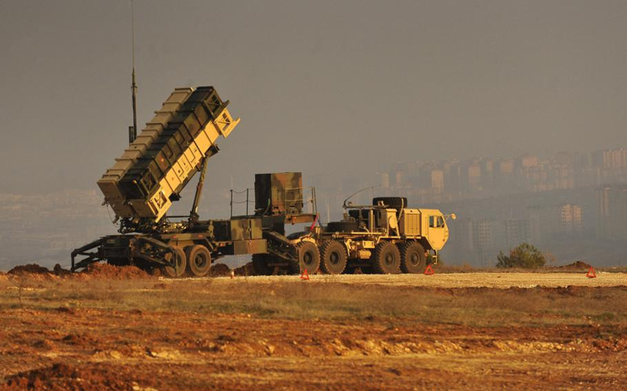 A Patriot Missile battery sits on an overlook at a Turkish army base at Gaziantep, Turkey, Feb. 4, 2013.