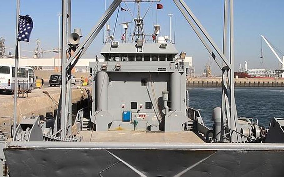 The USAV Churubusco, in the Port of Shuaybah, Kuwait, is an Army landing craft utility (LCU) watercraft crewed by Army reservists currently deployed to the Persian Gulf.