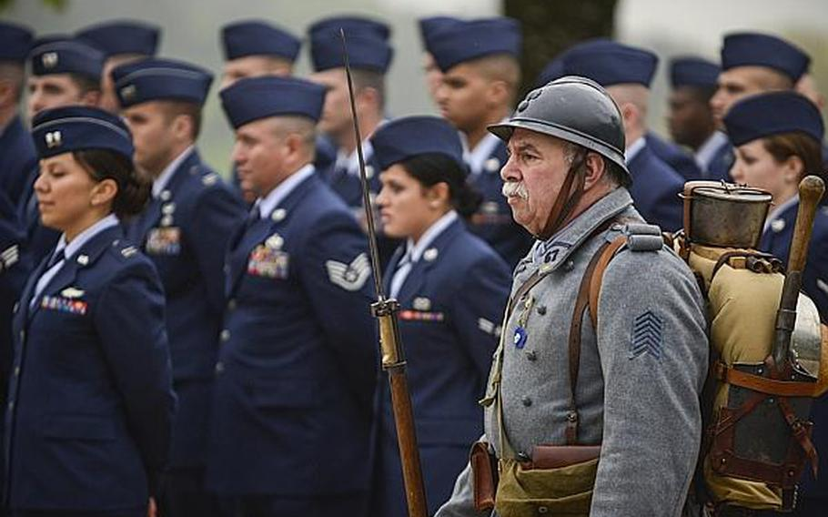 A French veteran wears a World War I era uniform Sunday morning at an American Memorial Day ceremony at the Meuse-Argonne American Cemetery and Memorial in France.  Joshua L. DeMotts/Stars and Stripes