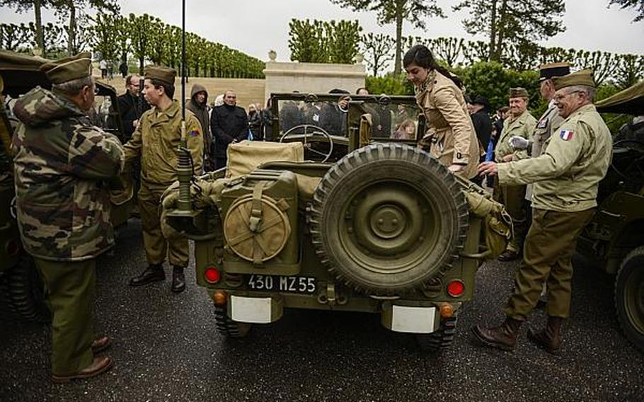 French collectors of American military memorabilia prepare to drive to a reception in the village of Romagne-sous-Montfaucon after an American Memorial Day ceremony at the Meuse-Argonne American Cemetery and Memorial in France.  Joshua L. DeMotts/Stars and Stripes