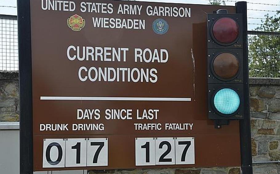 A sign at Wiesbaden, Germany's Clay Kaserne is updated to show the number of days that have passed since a drunken driving incident involving a member of the garrison's community.