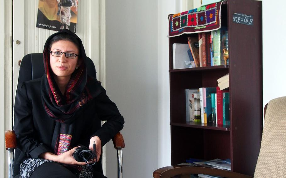 Shaharzad Akbar, a member of 1400's central council. Her group, made up of young government and NGO workers, entrepreneurs and students, is working to turn out the youth vote in next year's presidential election and eventually become a political party.
