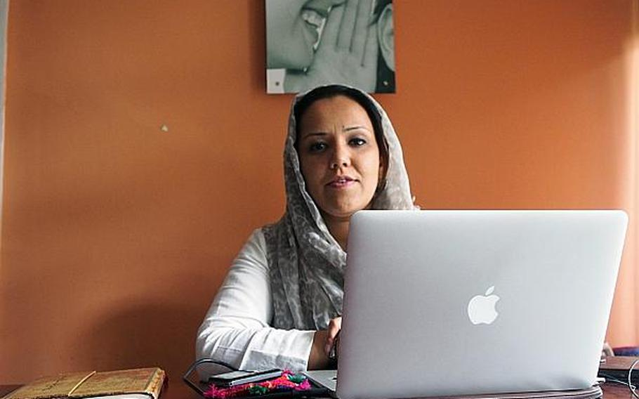 Mahmoda Sonia Eqbal, the chairwoman of the Afghan youth political movement. The group says it is trying to change Afghanistan's corrupt political system not through revolution, but by mobilizing young voters.