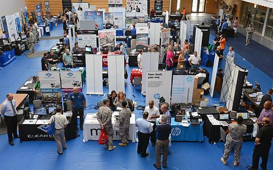 More than 50 exhibitors displayed their goods at the technology expo at Clay Kaserne in Wiesbaden, Germany, Friday, July 26, 2013. Technology expos, organized by National Conference Services Inc., also will be held in Naples,Vicenza and Aviano, Italy,  in late September.