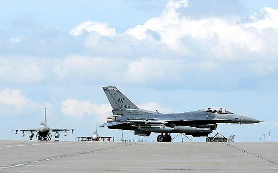 U.S. Air Force F-16 Fighting Falcon fighter aircraft taxi off the flightline at Lask Air Base in Poland July 12, 2013. The six aircraft are from Aviano Air Base, Italy, and are participating in the third aircraft rotation to Detachment 1, 52nd Operations Group. The aviation detachment is part of an effort to strengthen Polish and U.S. ties.