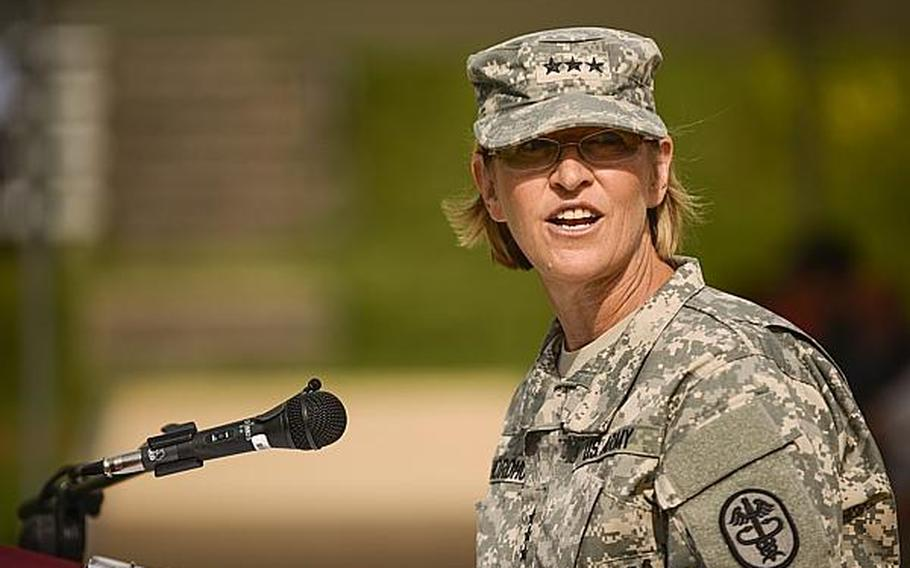 U.S. Army Lt. Gen. Patricia D. Horoho, the Army Surgeon General and Commanding General, U.S. Army Medical Command, speaks at a command relinquishment ceremony at Europe Regional Medical Command on Tuesday, July 30, 2013, at Sembach Kaserne, Germany.