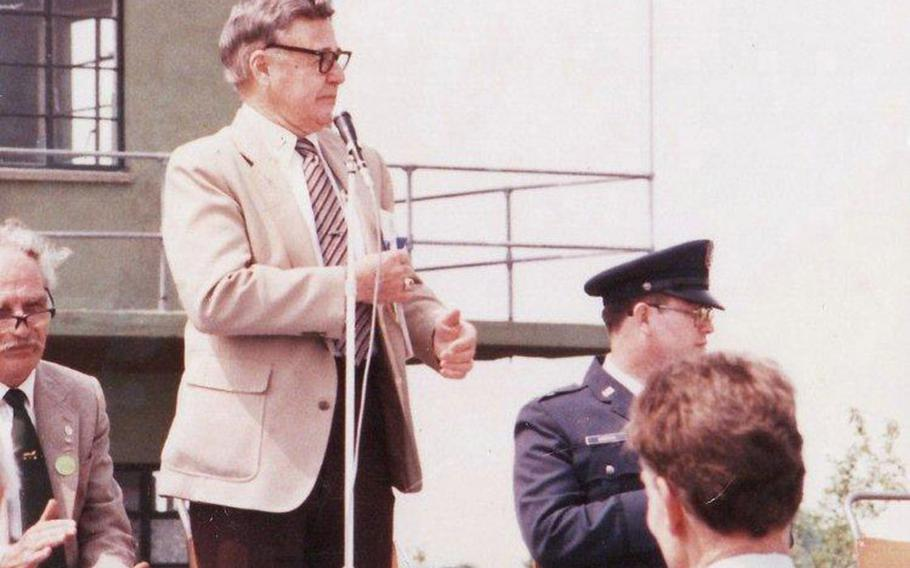 Lt. Col. J Leroy Engdahl at the reopening and dedication of Seething Control Tower 1987. Engdahl was one of many in the 448th and the Seething community who worked to restore the Tower as a memorial to the bomb group, local boys from the area provided the labour for free, and veterans in the U.S. sent donations for the restoration.