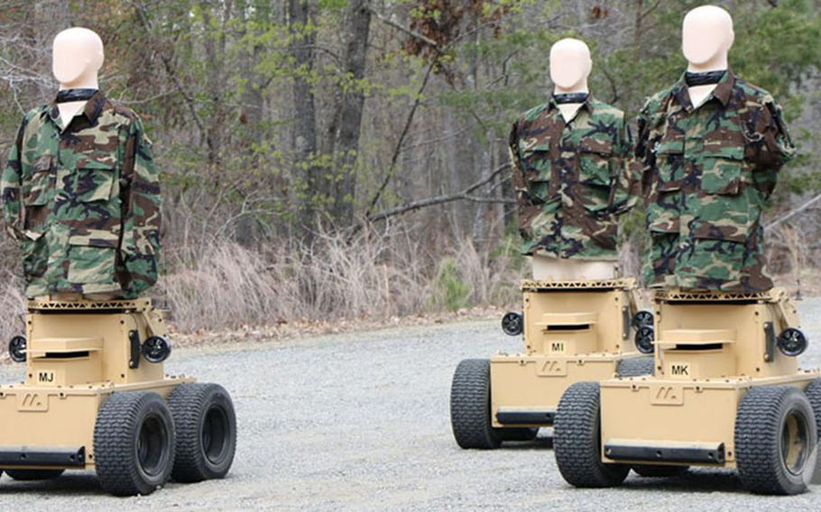 Robotic Human Type Targets are being assessed on ranges at Fort A.P. Hill, Va. in live fire training as the U.S. military moves to replace pop-up targets with mobile, autonomous machines.The robotic targets can be programmed to move almost anywhere in a training area and react to the actions of troops.