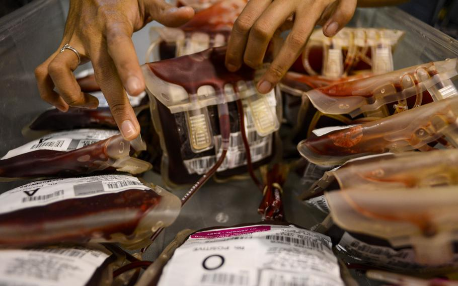 Airman 1st Class Patricia Ibanez shuffles through bags of red blood cells that came from the U.S. as her team processes the blood for shipment to U.S. military field hospitals in Afghanistan.
