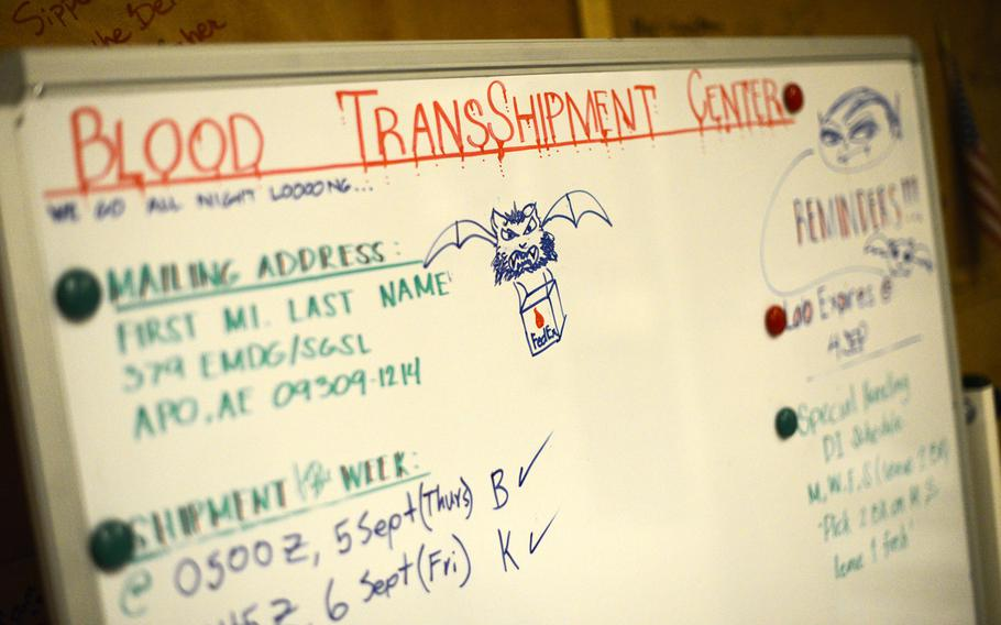 A dry erase board in the 379th Air Expeditionary Wing's blood trans-shipment center depicts the informal mascot adopted by the servicemembers who handle blood.