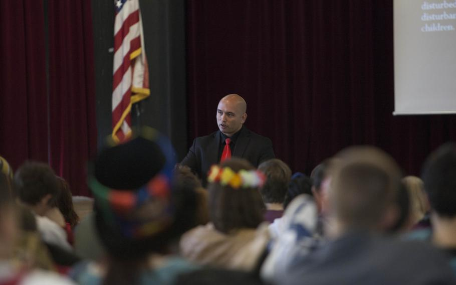 Ronald Wiesner, a special investigator specializing in sex crimes investigations for the Kaiserslautern office of the Army's Criminal Investigation Command, speaks with teens Wednesday at Kaiserslautern High School during a presentation he developed to inform students about sexual assault and sexual abuse.