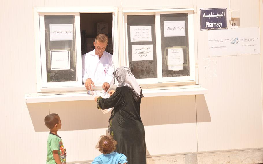 """A Syrian refugee camp funded and run by the United Arab Emirates Red Crescent Society in Jordan includes a pharmacy. The camp is dubbed the """"five-star camp"""" because it offers a higher level of services than other refugee camps. The camp also has a dentistry, an emergency room and other medical facilities."""