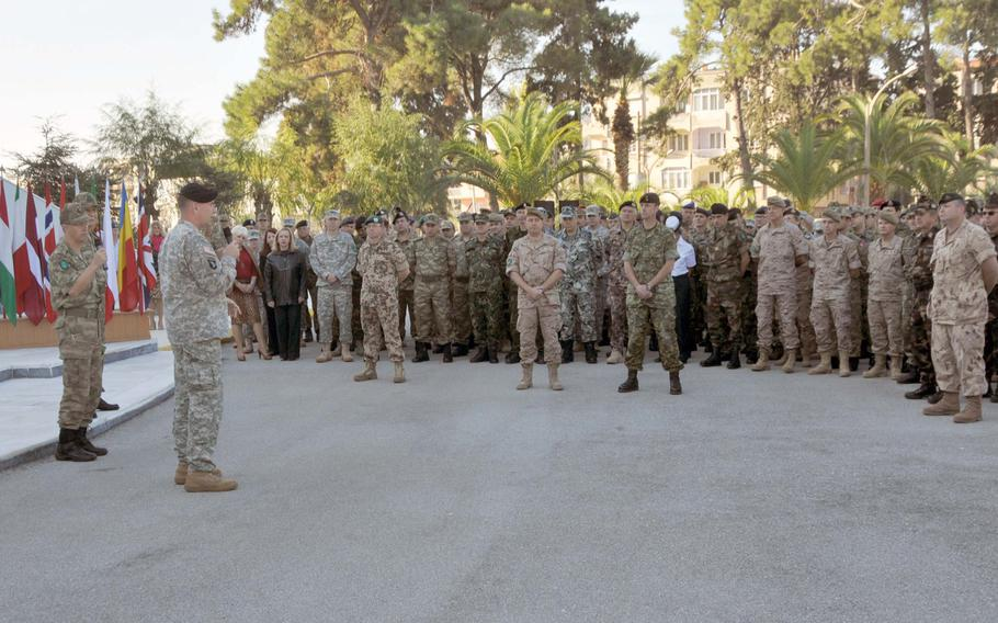 """Lt. Gen. Frederick """"Ben"""" Hodges, head of NATO Allied Land Command talks with troops at the unit's headquarters in Izmir, Turkey. The command, activated in November 2012, reached interim operational capability on Monday.   Courtesy NATO"""