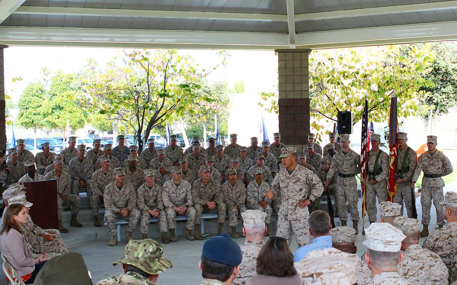 Brig. Gen. Daniel Yoo, commanding general of I Marine Expeditionary Force (Forward) addresses his Marines at Camp Pendleton, Calif., on Wednesday at an activation ceremony for the unit.