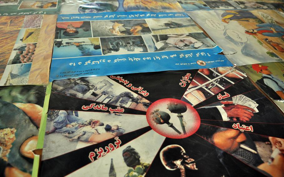 A collection of anti-drug posters at Herat province???s counter-narcotics headquarters, in western Afghanistan. Long a big producer of poppy, the flower that provides the main ingredient for heroin, Herat has largely eradicated drug cultivation, but still has a large population of heroin users.