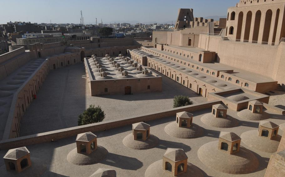 Qala e Ikhtiareddin, a  restored 14th-century citadel perched atop a manmade hill in the center of Herat, a large city in far western Afghanistan.