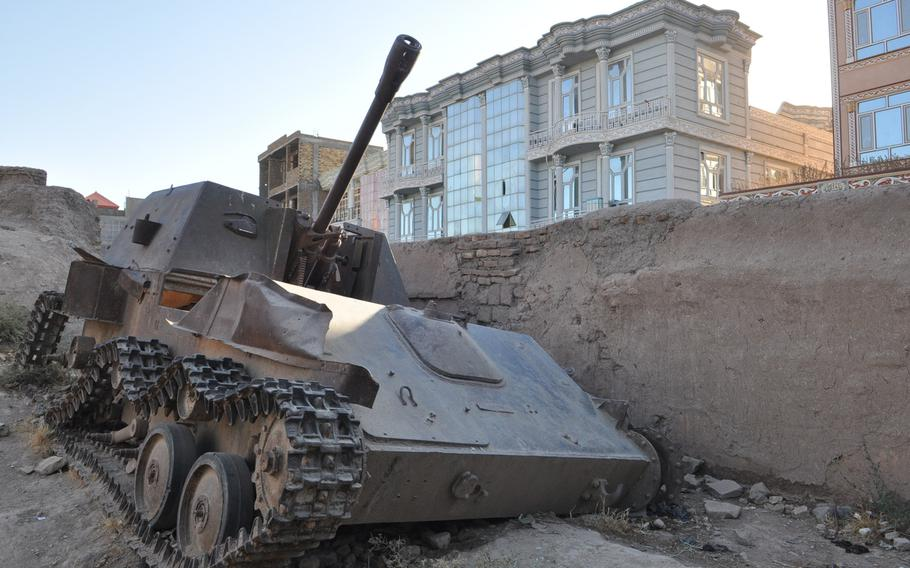 A Soviet tank in Herat, which was a key battleground in Afghanistan's successful guerrilla war against the Red Army, which lasted 10 years, from 1979 to 1989.