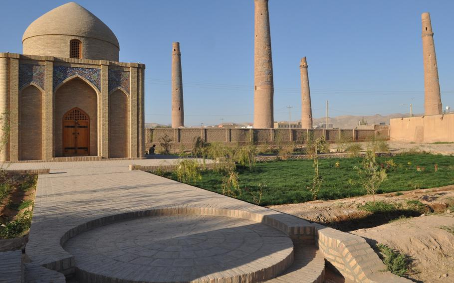 The Musalla complex in Herat, Afghanistan. The complex was built in the early 15th century and its five remaining minarets soar more than 150 feet over the city.