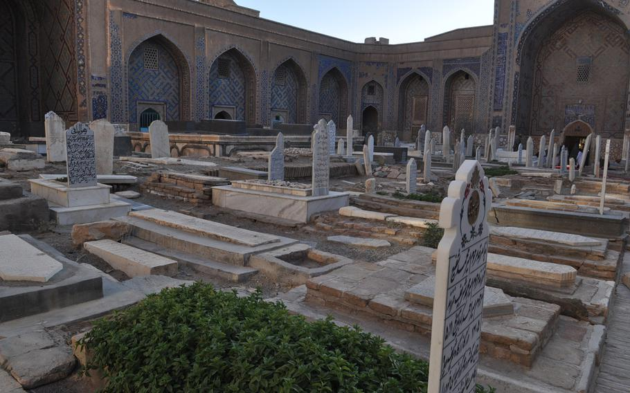 The Guzar Gah shrine in Herat, Afghanistan, which houses grave markers hundreds of years old, including the tomb of Khoja Abdullah Ansari, a renowned 11th-century poet.