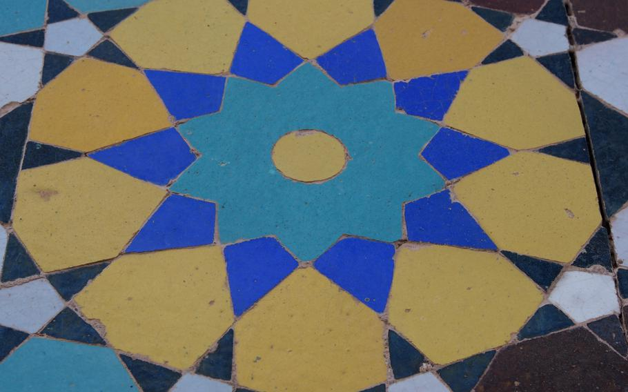Tile work at the Jami Mosque, a massive complex in central Herat, Afghanistan.
