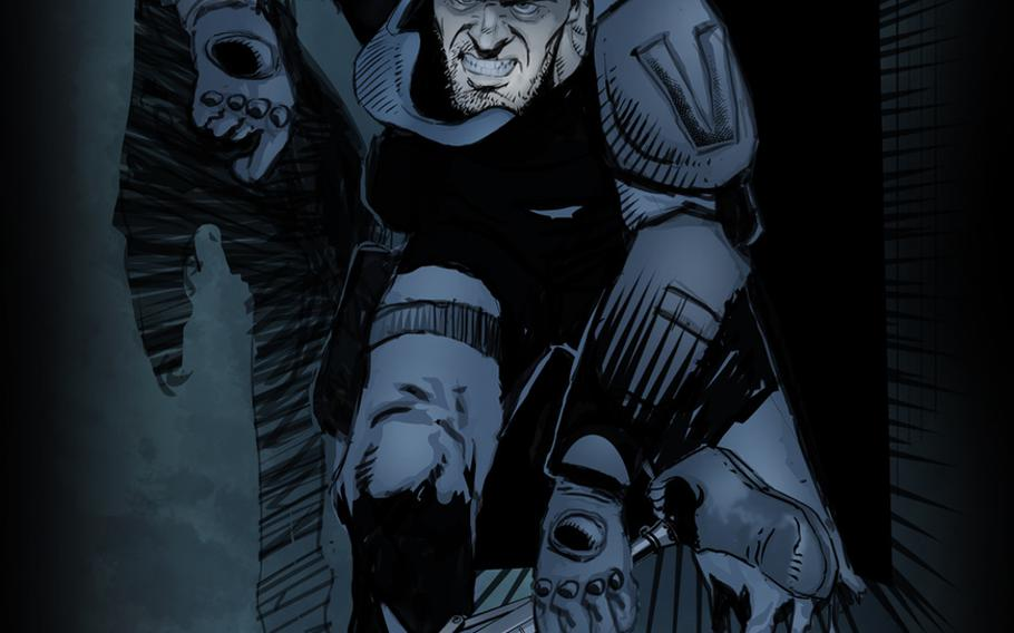 """John Russell is a new comic hero created by a team of veterans and Hollywood heavyweights for the graphic novel """"Vindicated Inc."""""""