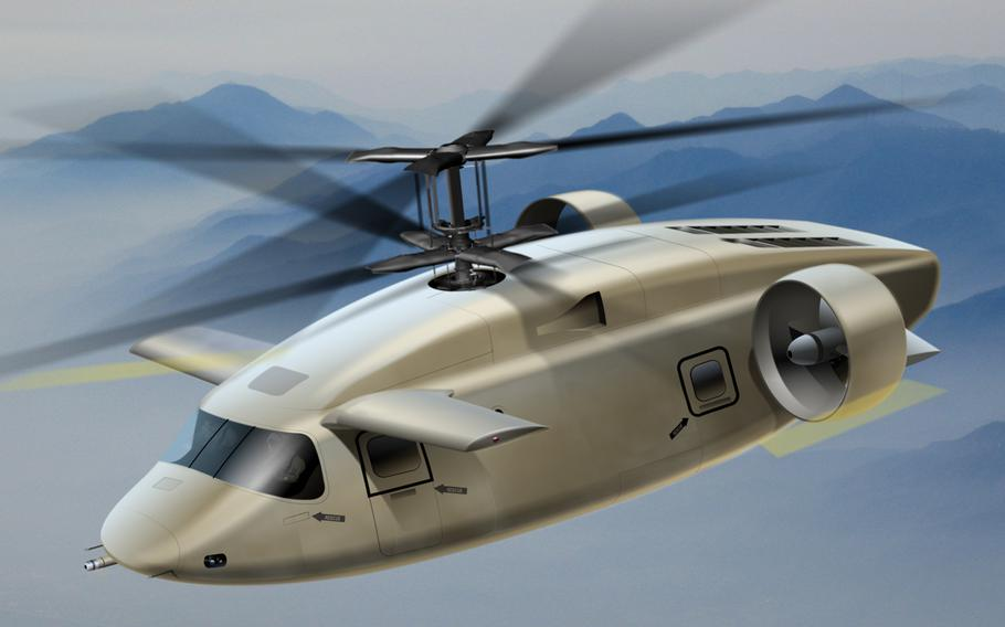 The AVX design for the future lift helicopter would feature coaxial rotors and ducted tail fans attached to a sleek fuselage. The aircraft could carry 14 troops at 230 knots and could fly from the West Coast to Hawaii with extra fuel tanks, according to AVX officials.