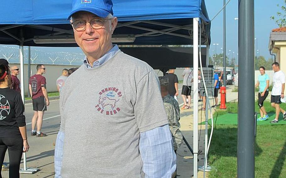 Tim Austin, secretary of the 173rd Airborne Brigade Association and a Vietnam veteran, was on hand at Del Din for the run. The relay race commemorates a battle in Vietnam on Nov. 8, 1965 in which 48 soldiers with the 173rd Airborne Brigade died.