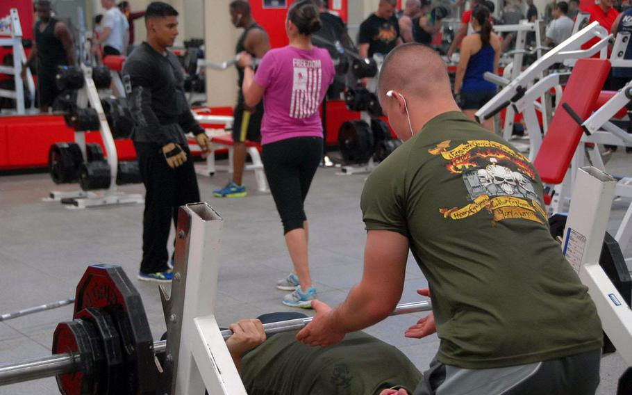 Patrons work out at Gunner's Gym, a Marine Corps facility at Camp Foster on Okinawa on Nov. 5, 2013. The gym sold the supplement Craze until sales were restricted by the service in October after reports that it contained an amphetamine-like substance.
