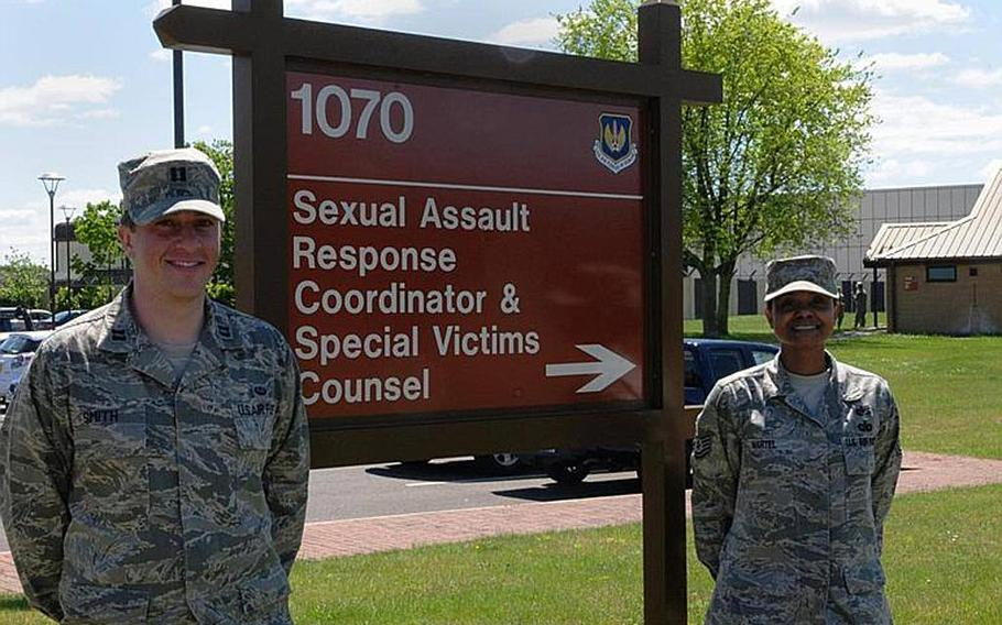 36p cs Courtesy U.S. Air Force In this photo taken from the program???s Facebook page, Capt. Micah Smith and Tech. Sgt. Tiana Martel stand outside the Special Victims??? Counsel office at RAF Lakenheath, England.