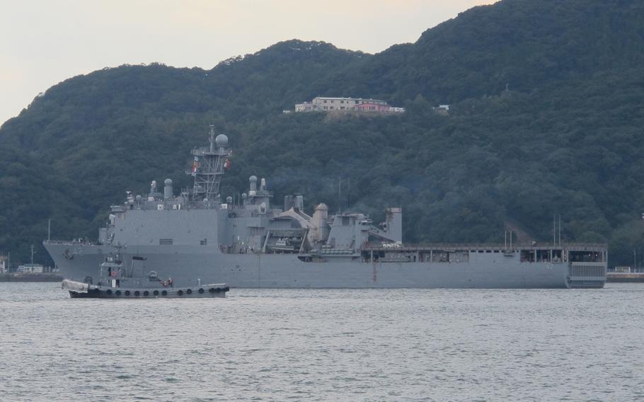 The USS Germantown departs Sasebo Naval Base in Japan on Nov. 14, 2103, for Okinawa to take on Marines and equipment before heading to the Philippines to assist in relief efforts. The Germantown and the USS Ashland are scheduled to arrive in the Philippines sometime next week. The Ashland left Sasebo on Thursday morning.