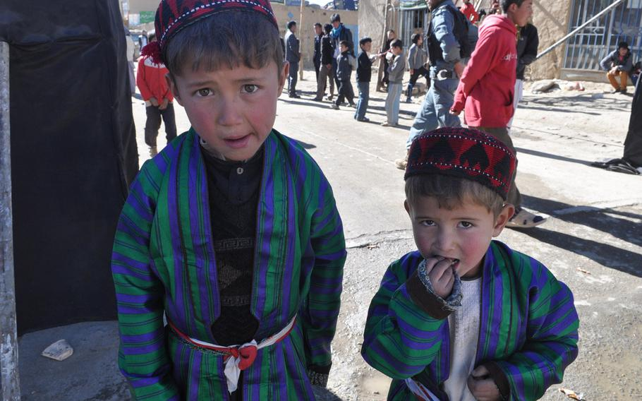 Children dressed up for Ashura services Thursday in Bamiyan, Afghanistan. Ashura is one of the holiest days of the year for Shia Muslims, and Bamiyan, high in the mountains of central Afghanistan, is a stronghold of the country's Shia Hazara minority.