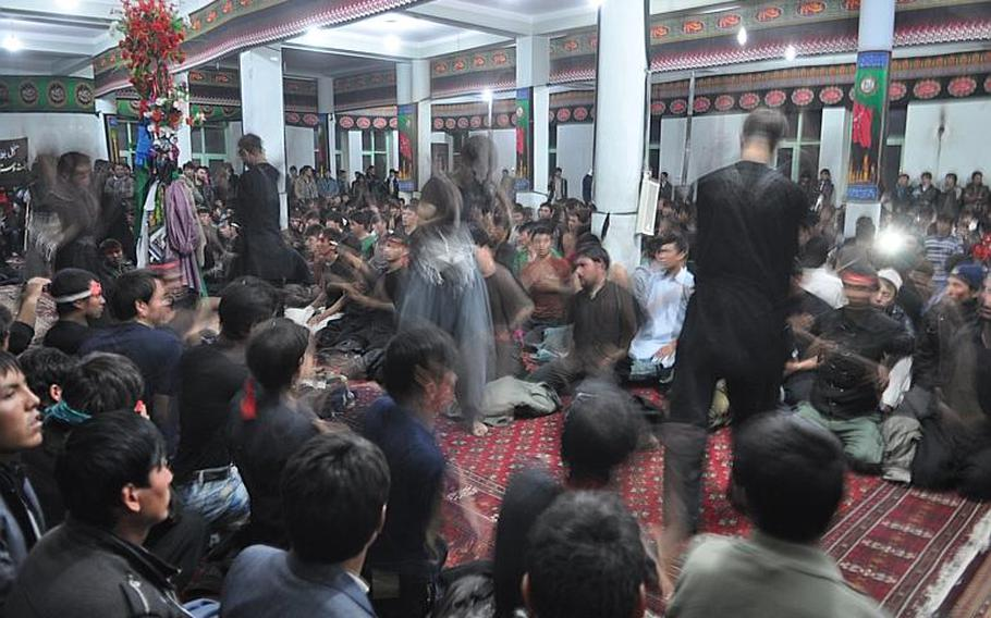 Worshipers at a mosque in Bamiyan, Afghanistan whip themselves with metal chains and beat their chests to mourn the killing of Hussein Ibn Ali, grandson of the Muslim prophet Muhammad. The ritual is part of Ashura, one of the holiest days of the year for Shia Muslims.