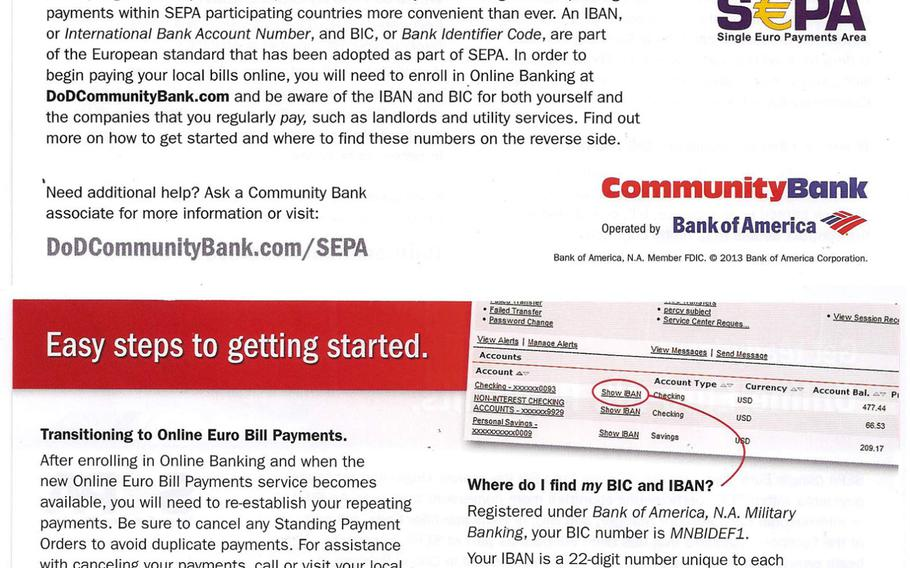 A Community Bank flier alerts customers to upcoming changes to bill payments related to new banking rules that go into effect Feb. 1, 2014, across the European Union.