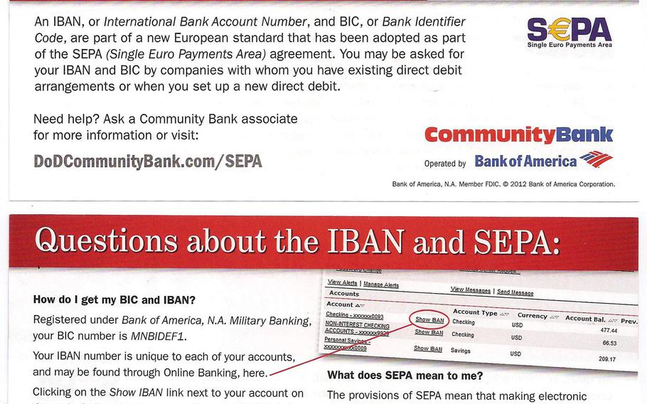 A Community Bank flier alerts customers to upcoming changes to bill payments related to new banking rules that go into effect Feb. 1, 2014, across the European Union.  Matt Millham/Stars and Stripes