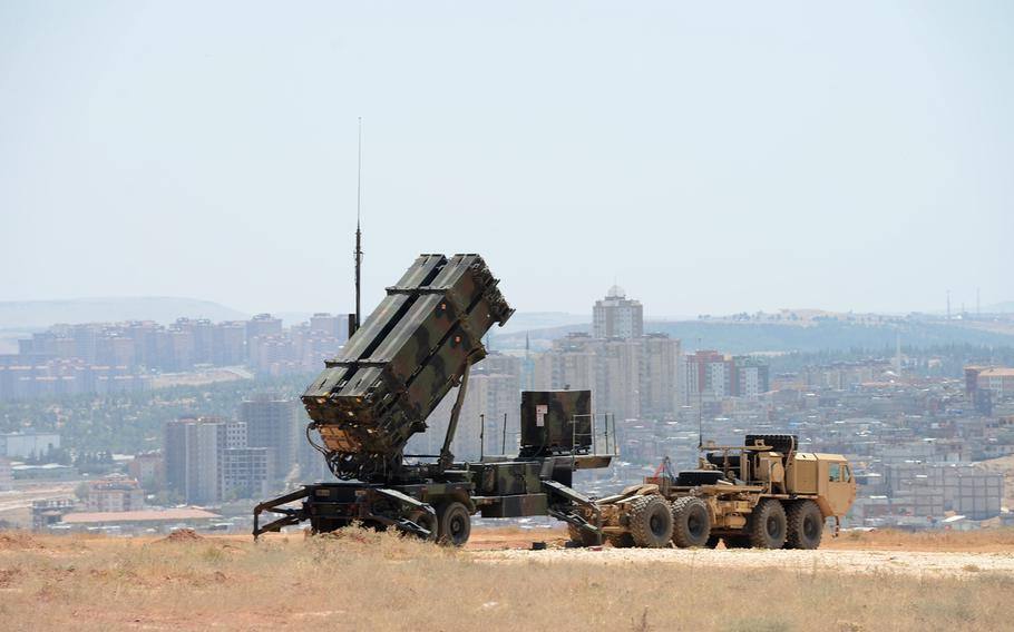 A Patriot missile launcher of the 3rd Battalion, 2nd Air Defense Artillery sits on a hill overlooking Gaziantep, Turkey. Defense Secretary Chuck Hagel said Monday that the United States will continue its deployment of two Patriot batteries for up to one additional year, in response to a Turkish request.