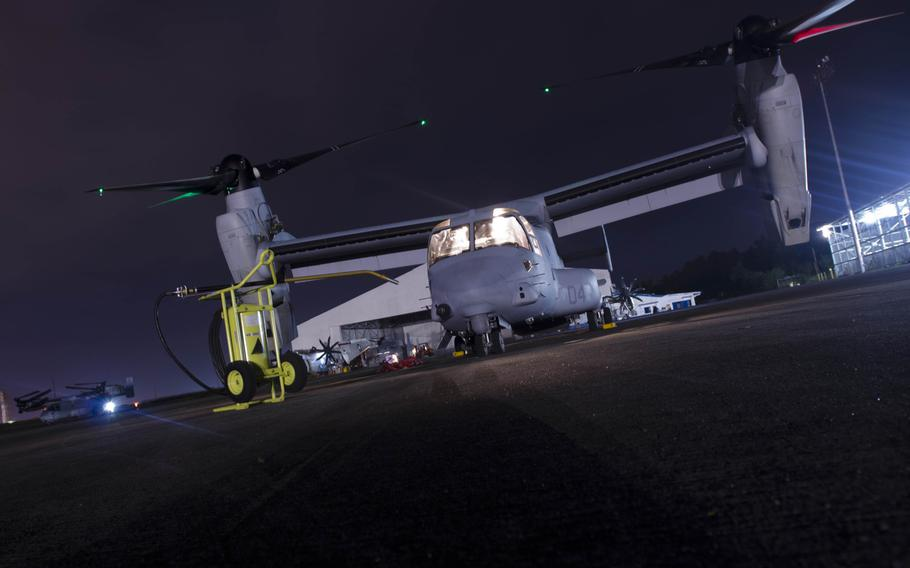 A V-22 Osprey waits at Clark Air Base, Philippines on Nov. 18, 2013, after a 12-hour mission delivering supplies to victims of Super Typhoon Haiyan.