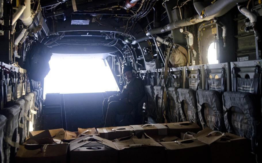 A U.S. Marine Corps V-22 Osprey delivers relief supplies to victims of Super Typhoon Haiyan Nov. 18, 2013.