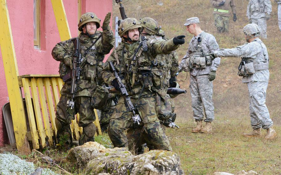 Czech Republic soldiers take part in unified land operations Nov. 15, 2013, at the Joint Multinational Readiness Center in Hohenfels, Germany.
