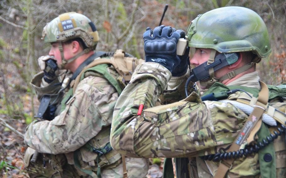 A U.S. Air Force joint terminal attack controller, left, works alongside a European soldier on Nov. 17, 2013, during the Combined Resolve exercise at the Joint Multinational Readiness Center in Hohenfels, Germany.