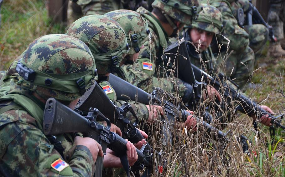 Serbian soldiers pull security on Nvo. 17, 2013, during the Combined Resolve exercise at the Joint Multinational Readiness Center in Hohenfels, Germany.