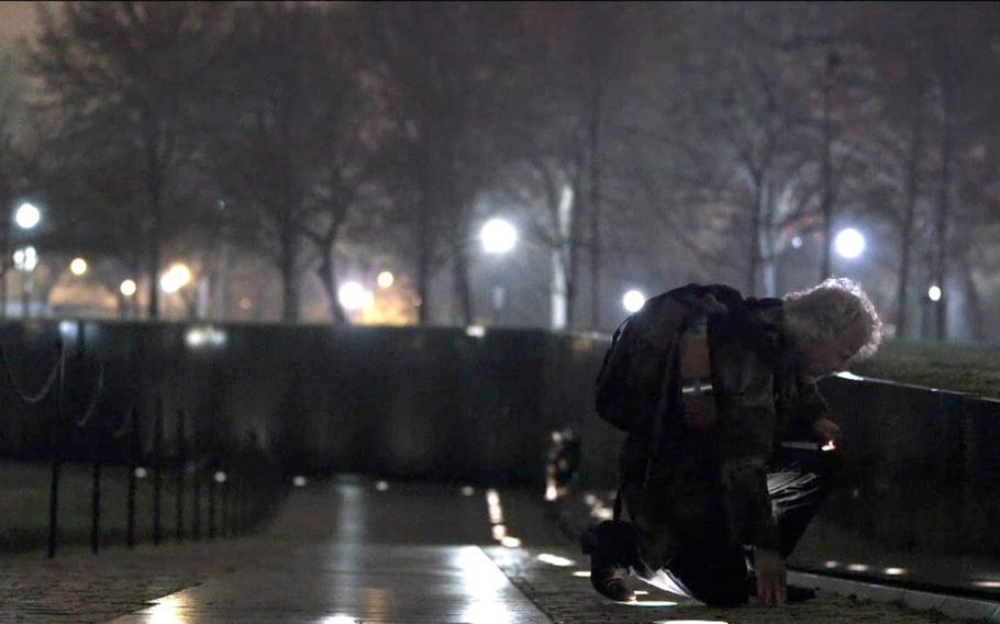 "Vietnam veteran Tom Faunce visits the Vietnam Veterans Memorial in Washington D.C., in the film ""Unclaimed,"" to get a rubbing of John Hartley Robertson's name."