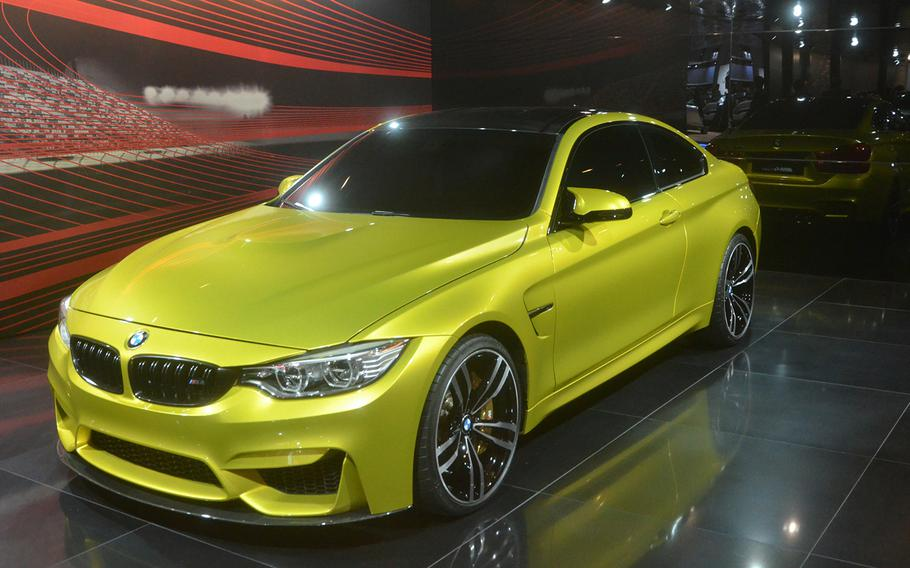 BMW's display at the 2013 Tokyo Motor Show includes this M4 coupe concept car.