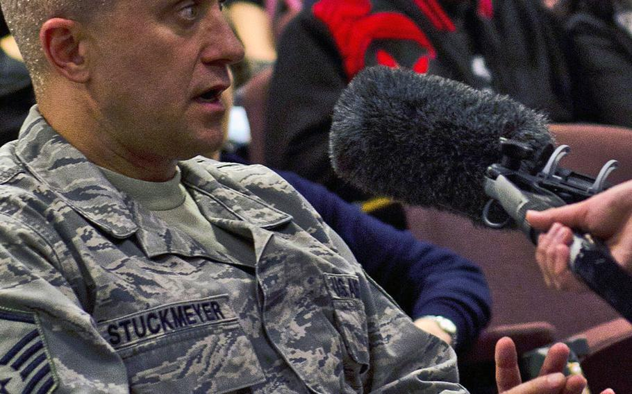 """Master Sgt. William Stuckmeyer, dining hall manager, spoke during a recording of the radio show,"""" The Kitchen Cabinet,"""" about what food he noticed could not be found in England: catfish. The show was recorded Tuesday, Nov. 19, 2013, at RAF Lakenheath, England."""