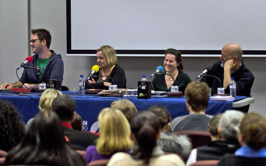 """Four panelists answered questions and provided commentary on English and American food during a recording of the radio program, """"The Kitchen Cabinet"""" at RAF Lakenheath, England, on Tuesday, Nov. 19, 2013."""