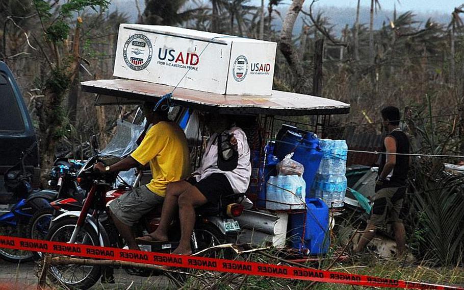 U.S. relief supplies are easy to spot in typhoon-hit areas of the Philippines.