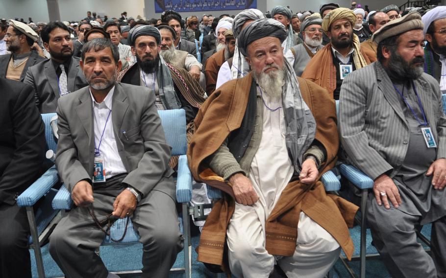 Delegates to the Loya Jirga, a gathering of Afghan leaders, discuss a proposed security agreement with the U.S. that would keep a residual military training and assistance force in Afghanistan past the end of 2014. The jirga approved the pact, which goes to parliament for approval and must ultimately be signed by Hamid Karzai, who has endorsed it.   Heath Druzin/Stars and Stripes