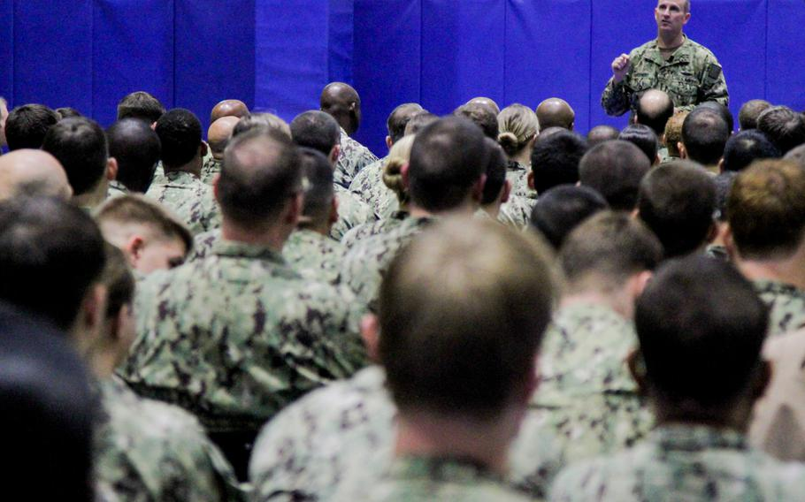 Adm. Jonathan Greenert, chief of naval operations, speaks to about 1,500 U.S. personnel at an all-hands call at Naval Support Activity Bahrain on Wednesday Nov. 27, 2013.