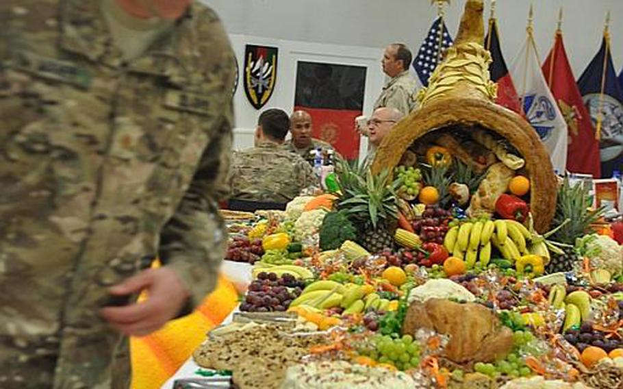 The Army's logistics workers also made sure units were well stocked with decorations, although Chief Warrant Officer II Joshua Johnston, a theater food advisor, said some bases were asked to hold onto their holiday decorations from last year and re-use them.